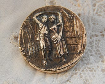 Paul and Virginia - Stamped Antique Brass Picture Button