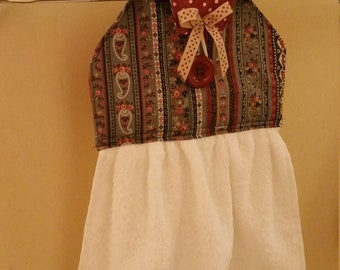 Kitchen/Bathroom hanging hand towel vintage grey brown flower and polka dot prints NEW cotton fabric Kitchen tea gift idea