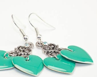 """Turquoise"" heart earrings"