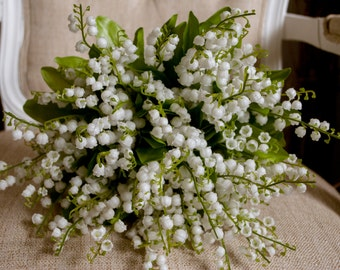 Luxury lily of the valley wedding bouquet. Made with artificial lily of the valley. White wedding bouquet