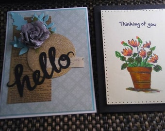 10 Handmade Greeting and Note Card Set, Assorted Handmade Cards, Variety Card Set, Handstamped Assortment Cards