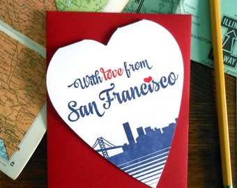 with love from san francisco, california heart shaped greeting card everyday miss you love you