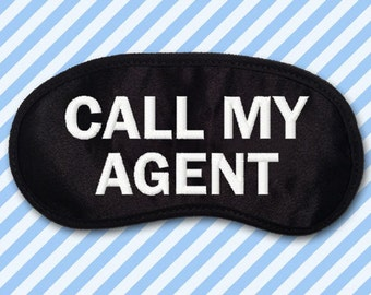 Call My Agent Custom Made Embroidered Eye Mask - favorite on pinterest tumblr instagram polyvore
