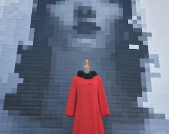 Vintage Red Mink Fur Collared Winter Coat (Size Small/Medium)