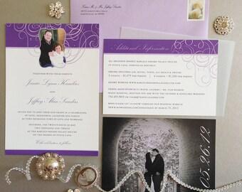 Elegant Purple Wedding Invitation Suite