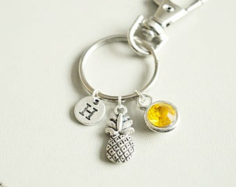 Pineapple keyring, pineapple gift, pineapple wedding,wedding favor, gift for guests,personalized keychain, tropical keyring, accessories