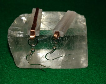 Selenite and copper Earrings 1.25 inches