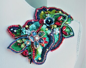 Large embellished flower  brooch - OOAK  - Ready to ship xx