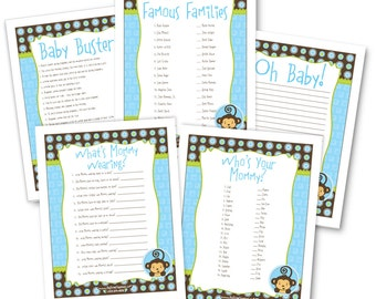 Blue Monkey Boy Baby Shower Game Pack - 5 Instant Download & Print Games