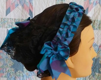 Black Net Fanchon Styled Day Cap with Changeable Ribbon