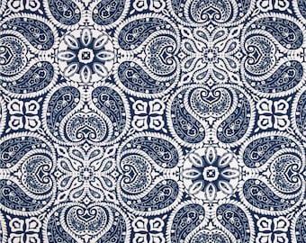 Tibi Navy cotton fabric by the yard medallion Magnolia Home Fashions