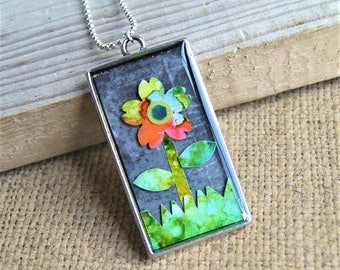 colorful resin pendant, resin jewelry, colorful jewelry, daisy pendant, gift for her, gift for women