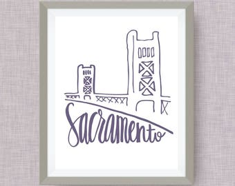 Sacramento Art Print - Tower Bridge hand drawn, hand lettered, Option of Real Gold Foil