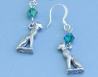 Emerald Egyptian cat earrings