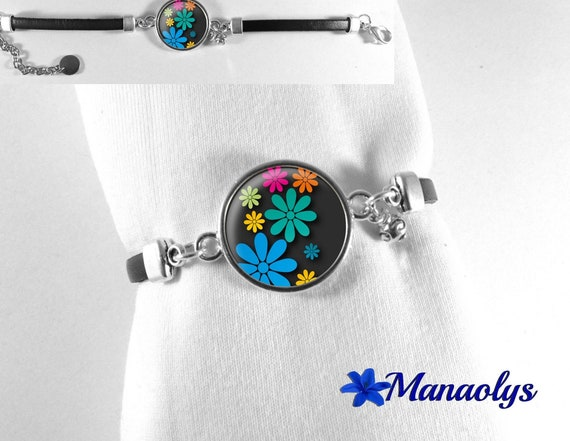 Bracelet genuine leather, colorful flowers on black background, 237 glass cabochon