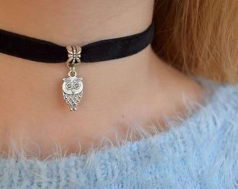Owl Velvet Choker necklace 90s choker black choker Womens chokers Boho choker Gothic charm grunge Thin Choker Minimalist bohemian choker