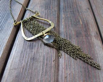 Dance - Dramatic Brass Necklace - Grey Moonstone Necklace - Artisan Tangleweeds Jewelry