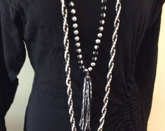 Vintage Black and Silver Long Tassel necklace with Long Beaded Necklace/Boho//Hippy/Costume Jewelry