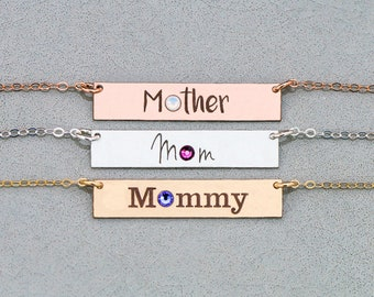 Mom Birthstone Bar Necklace • Mother's Day Gift Idea • New Mom Family Necklace • From Son • From Daughter • BB_18