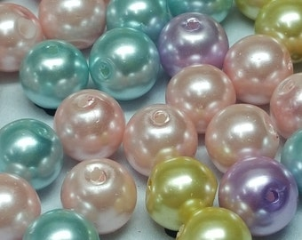 Pastel mix 8mm faux pearls (50 beads)