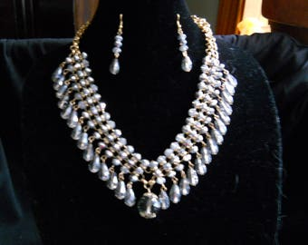 Glass Gray Crystal Statement Necklace Earring Set #666