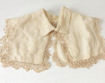 Antique Detachable Collar with Crochet Lace Trim, Edwardian Child Cream Silk Lined Bodice Yoke, Victorian Girls Fashion Dress Accessory