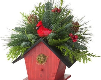 Cardinal Bird House - Holiday Centerpiece - 1, 3 or 6, by CARRERA FLORAL