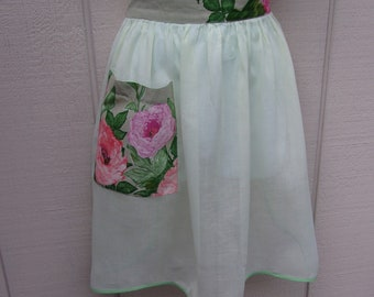 Vintage 1950s Light Green Cotton and shabby Rose Floral SHEER Hostess Apron