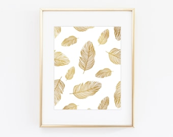 Gold feathers print - Feather pattern gold print - Faux gold foil prints - Gallery wall prints - Minimalist modern home decor
