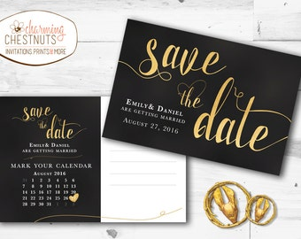 Black and Gold Save The Date Postcard, gold save the dates, printable save the date, postcard save the date, black and gold wedding