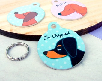 Personalised Dachshund Dog ID Tag - Custom Made Dachshunds collar charm - Dachshund Name ID Tag - Dachshunds - SMALL 25mm - personalized