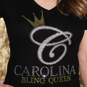 Bling Queen  rhinestone  & glitter bling shirt,  all sizes XS, S, M, L, XL, XXL, 1X, 2X, 3X, 4X, 5X Carolina Bling Queen