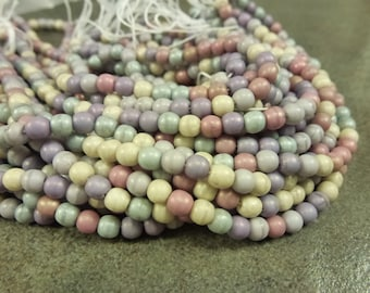 Etheral Mix Matte Czech Glass Druk 4mm 100pc Strand Round Beads Cream Sage Mauve Powder Blue Amethyst