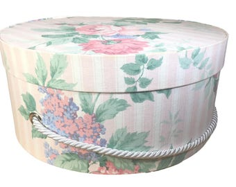 Hat Box in Pink Floral Stripe, Ready to ship! Round Box, French Cottage Decor, Fabric Covered Box, Box w Lid, Keepsake Box, Decorative Box