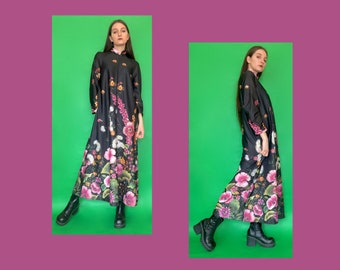 Vintage 80s 70s Black Floral Print Long Sleeve Maxi Dress