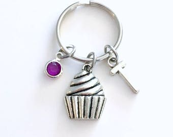 Cupcake Keychain, Birthday Present for Teenager, Personalized Cup Cake Gift for baker Dessert Key chain Keyring initial birthstone custom