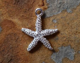1 Silver Starfish Charms -  Nunn Designs