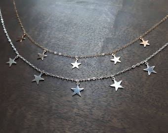 Star - choker, Gold filled 14 k, Sterling silver 925, silver, Star jewelry, Minimalist jewelry, gift idea for woman trendy star necklace