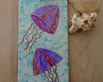Alcohol ink ceramic tile, bathroom decor, jellyfish, one of a kind