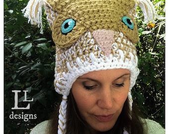 Beige and White Hoot Owl Costume Crochet Hat
