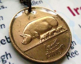 1943 Ireland Irish One Halfpenny Copper Coin Pig Harp Pendant Necklace