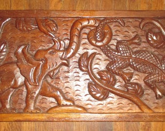 Hand Carved African or Asian Wood Panel Elephant Crocodile Battle