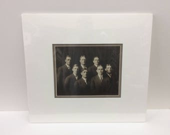 Original early 1900's vintage sepia photo men's club group distinguished