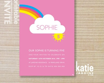 kids invitation -  girls invitation - rainbow invitation - printable invitation - Half rainbow, cloud, sun - hot pink, purple, blue