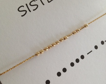 SISTERS Necklace Set of 2, Morse Code Sister Necklace, Personalized Necklace, 14K Gold Filled, Sterling Silver Necklace, Beaded Necklace