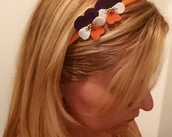 Hand-Sewn Felt Pansy Duo Headband