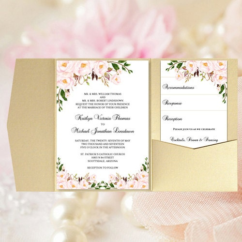 Pocket Wedding Invitations Blush Petal Pink Rose