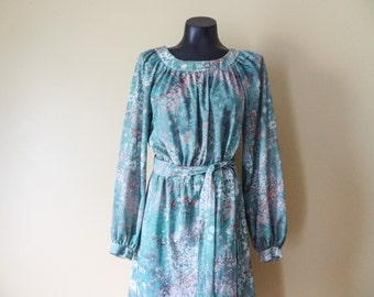 Green Floral Peasant Dress size Large