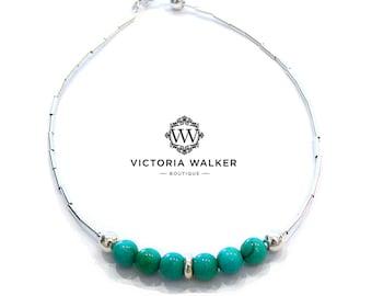 Silver Turquoise Bead Bracelet