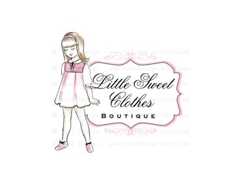 OOAK Character Illustrated Premade Logo design- Little Sweet Clothes- Girls Boutique Clothing -